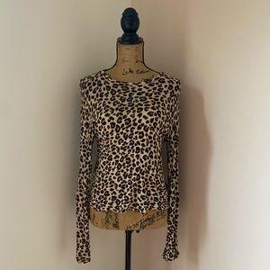 H&M Leopard Print Knit Top Size Small